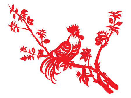 chinese calendar: Red paper cut a chicken rooster crows on tree art design Illustration