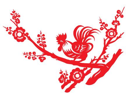 Red Papier geschnitten, um ein Huhn Hahn Krähen auf Baum-Kunstentwurf Standard-Bild - 63507304