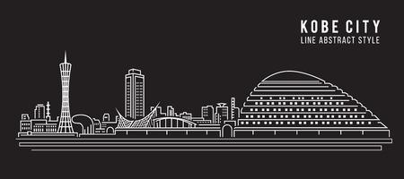Cityscape Building Line art Illustration design - Kobe city