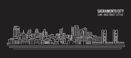 Cityscape Building Line art Illustration design - Sacramento city