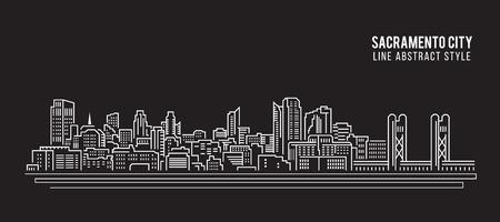 Cityscape Building Line art Illustration design - Sacramento city