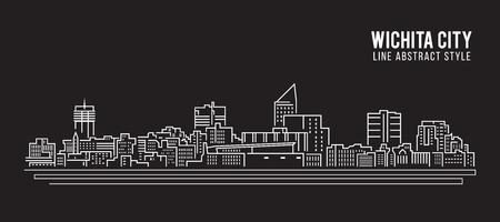Cityscape Building Line art Illustration design - Wichita city
