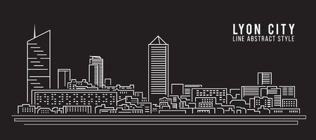 Cityscape Building Line art Illustration design - Lyon city