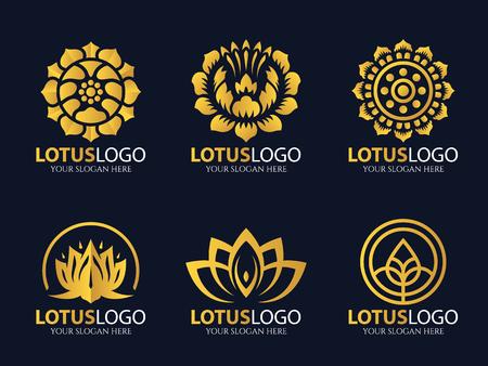 Gold Lotus icon art set design Stock Vector - 63507621