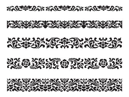 Line pattern Asian traditional art Design set, Thai traditional design (Lai Thai pattern)
