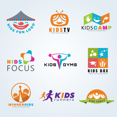 child sport: Kids child sport and fun icon set design