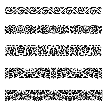 lanna: Line border pattern Asian traditional art Design set, Thai traditional design  (Lai Thai pattern)