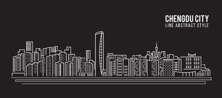 property of china: Cityscape Building Line art Illustration design - Chengdu city