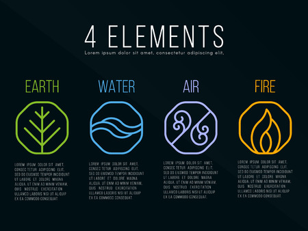 sources: Nature 4 elements in octagon icon border sign. Water, Fire, Earth, Air. on dark background.