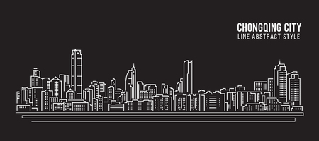 property of china: Cityscape Building Line art Illustration design - Chongqing city