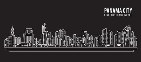 都市の景観建物ライン アート イラスト デザイン - パナマ市  イラスト・ベクター素材