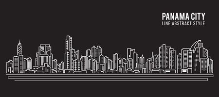 panama: Cityscape Building Line art Illustration design - Panama city