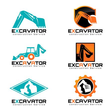 Excavator and backhoe icon illustration set design