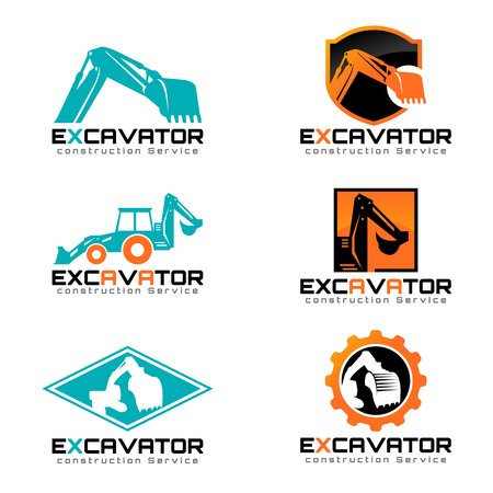 Excavator and backhoe icon illustration set design