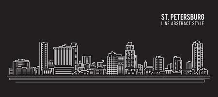 petersburg: Cityscape Building Line art Illustration design - Saint Petersburg city