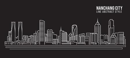 property of china: Cityscape Building Line art Illustration design - Nanchang city Illustration