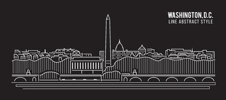 district of columbia: Cityscape Building Line art Illustration design - Washington , D.C. city