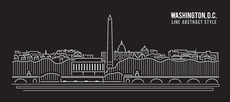 Cityscape Building Line art Illustration design - Washington , D.C. city