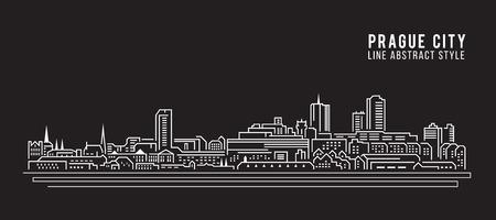 czech: Cityscape Building Line art Illustration design - Prague city