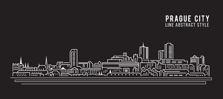 Cityscape Building Line art Illustration design - Prague city