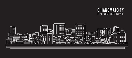 chiangmai: Cityscape Building Line art Illustration design - Chiangmai city Illustration