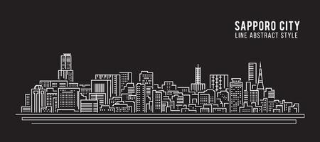 lijntekening: Cityscape rooilijn art Illustratie design - Sapporo Stad