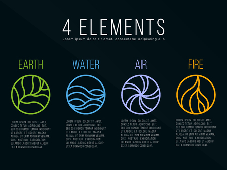 Nature 4 elements in circle icon abstract line border sign. Water, Fire, Earth, Air. on dark background. Illustration