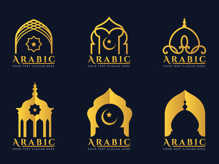 Gold Arabic windows and doors architecture icon set design Ilustrace