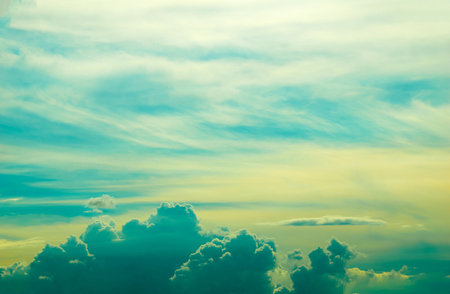 blue sky with clouds: soft green blue and yellow clouds sky Stock Photo