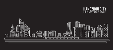 property of china: Cityscape Building Line art Illustration design - Hangzhou city Illustration