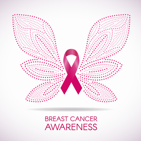 Breast cancer awareness with Dot line Butterfly sign and pink ribbon illustration design