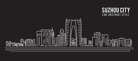 property of china: Cityscape Building Line art icon Illustration design - Suzhou city