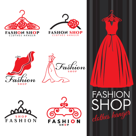 fashion dress: Fashion shop icon - Red dress and Clothes hanger icon set design