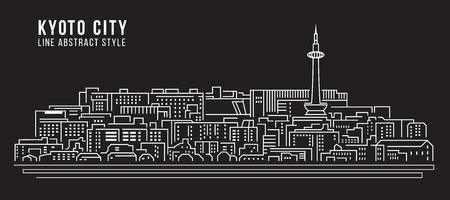 kyoto: Cityscape Building Line art Illustration design - Kyoto city Illustration