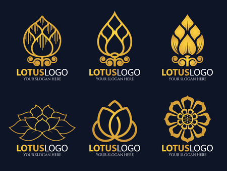 Gold Lotus icon illustration art set design Иллюстрация