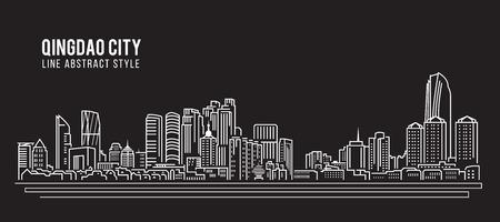 property of china: Cityscape Building Line art Illustration design - Qingdao city