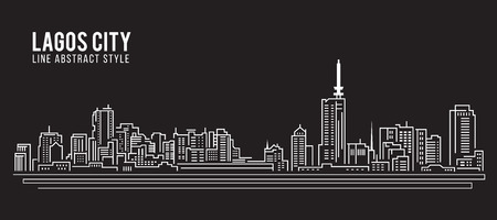 and scape: Cityscape Building Line art Illustration design - Lagos city