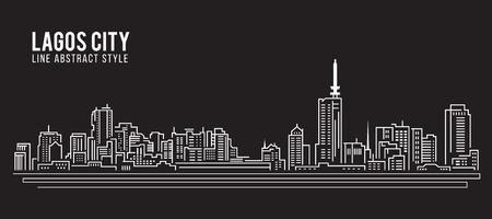 Stadtansicht von Gebäuden Linie Kunst Illustration Design - Lagos Stadt Standard-Bild - 63509405