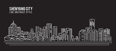 property of china: Cityscape Building Line art Vector Illustration design - Shenyang city Illustration