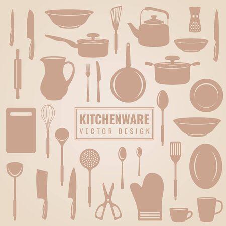kitchen equipment: Kitchenware - kitchen equipment and utensil in silhouette vector set design
