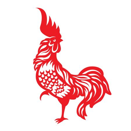 chiken: Red paper cut a rooster chicken zodiac symbols