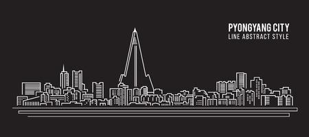 pyongyang: Cityscape Building Line art Vector Illustration design - PyongYang city
