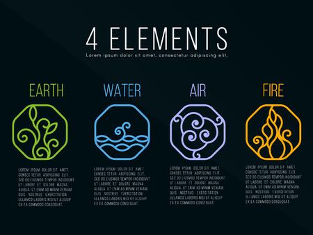 Nature 4 éléments dans Octagon ligne bordure icône d'icône abstraite. Eau, Feu, Terre, Air. Sur fond sombre. Vecteurs