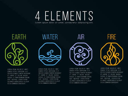 biogas: Nature 4 elements in Octagon  line border abstract icon sign. Water, Fire, Earth, Air. on dark background.