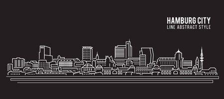 hamburg: Cityscape Building Line art Vector Illustration design - Hamburg city Illustration