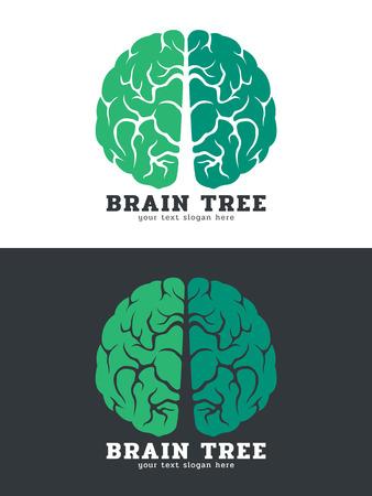 tree: Green Brain tree logo vector art design isolate on white and dark background