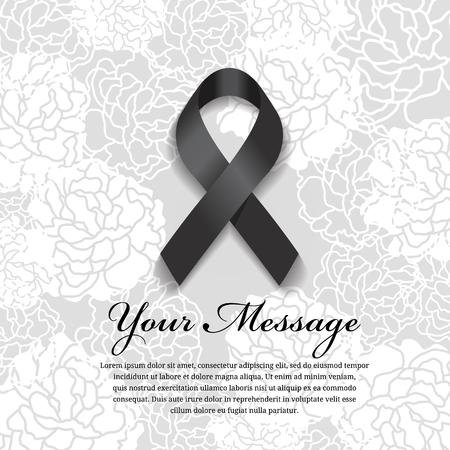 장례식 카드 - 블랙 리본 및 소프트 꽃 추상적 인 배경에 텍스트를위한 장소 일러스트
