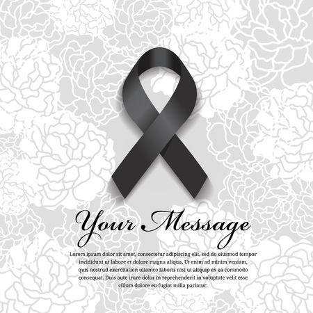 funeral card - Black ribbon and place for text on soft flower abstract background Illustration