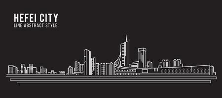 property of china: Cityscape Building Line art Vector Illustration design - Hefei city