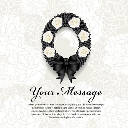 Carte funéraire - Cercle Ruban noire couronne arc et rose blanche sur fleur douce fond abstrait Banque d'images - 66920515